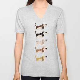 Basset Hound Colors Illustration Unisex V-Neck