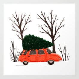 Driving Home For Christmas Vintage Illustration Art Print