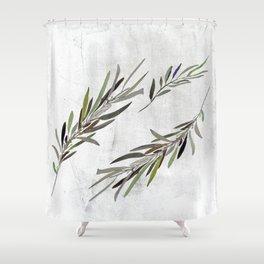 Eucalyptus Leaves White Shower Curtain