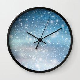 Snow Bokeh Blue Pattern Winter Snowing Abstract Wall Clock