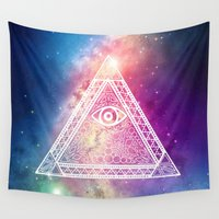 evil eye Wall Tapestries featuring Galaxy Evil Eye by Emmy