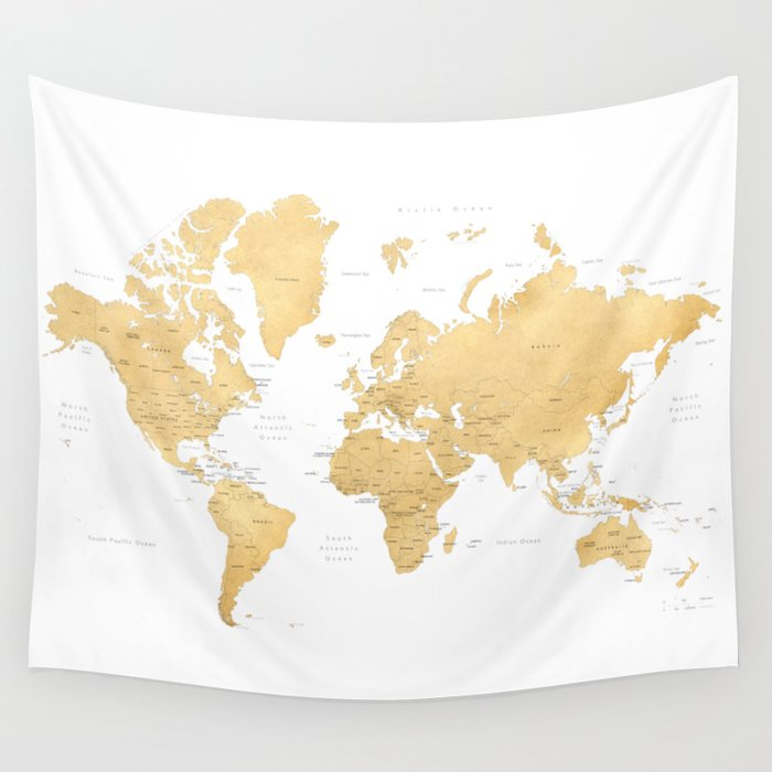 Gold World Map With Countries And States Labelled Wall Tapestry By