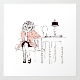 Bestial lonely lady Art Print