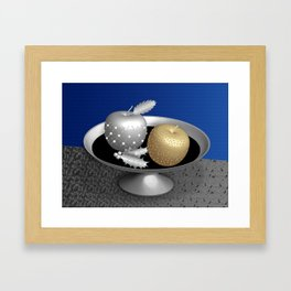 Gold and Silver Christmas Apples on a Silver Pedestal Framed Art Print