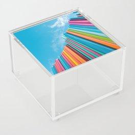 Colorful Rainbow Pipes Against Blue Sky Acrylic Box