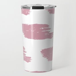 Red & White Big Watercolor Stripes Travel Mug