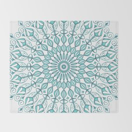 Aqua mandala Throw Blanket