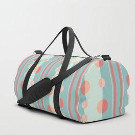 Circles and Stripes in Succulent Green and Coral Duffle Bag