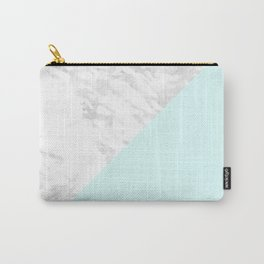 White Marble with Pastel Blue and Grey Carry-All Pouch