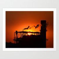 Steam Stack Sunset Art Print