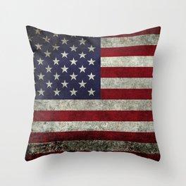 USA flag - in Super Grunge Throw Pillow
