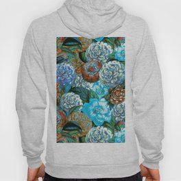Vintage & Shabby - blue floral camellia flowers watercolor pattern Hoody