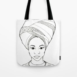 Beautiful African woman with head wrap Tote Bag
