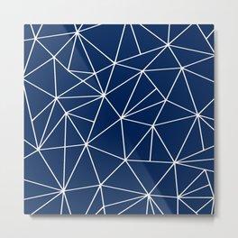 Triangle Geometric Art,  Navy Blue, Pieces Art Metal Print