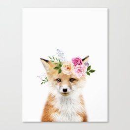 Baby Fox with Flower Crown Canvas Print