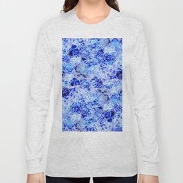 Alien Water - Abstract, crazy, textured, blue design Long Sleeve T-shirt