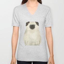 Grumpy pug cute ilustration Unisex V-Neck