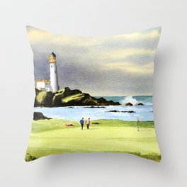 Turnberry Golf Course Scotland 10th Green Throw Pillow