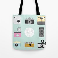 cameras Tote Bags featuring cameras by Sarah Turbin