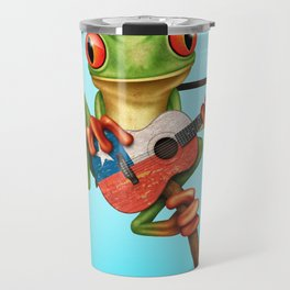Tree Frog Playing Acoustic Guitar with Flag of Chile Travel Mug