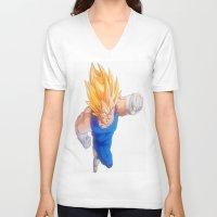 vegeta V-neck T-shirts featuring Ascended Super Saiyan Vegeta by bmeow