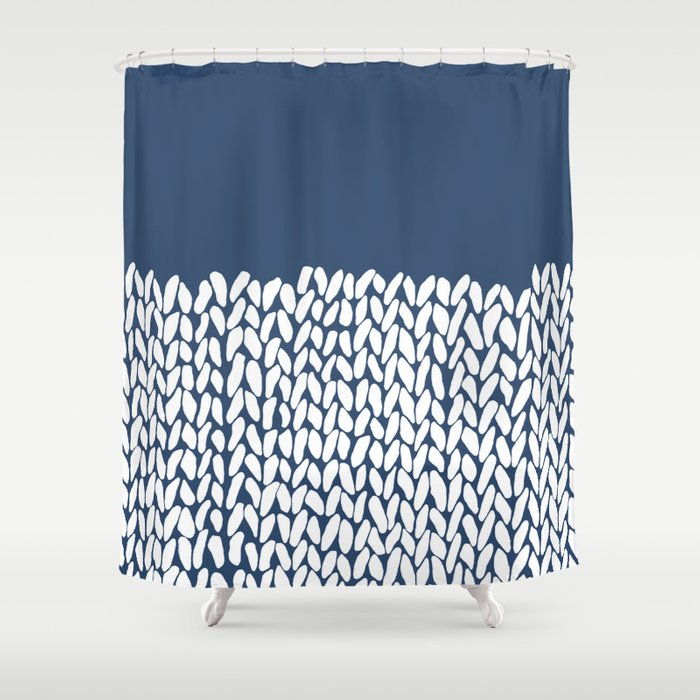 Half Knit Navy Shower Curtain By Projectm