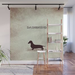 Retro Dachshund Distressed Paper Wall Mural