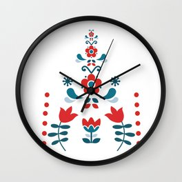 Retro Nordic Folk Wall Clock