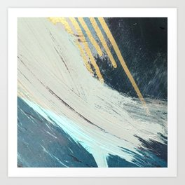 Karma: a bold abstract in blues and gold Art Print