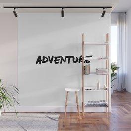 Adventure Hand Letter Type Word Black & White Wall Mural