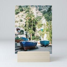 "Travel photography print ""Boats on the amalfi coast"" - made in italy. Sunny, colorful photo Mini Art Print"