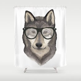 Hipster Wolf Shower Curtain