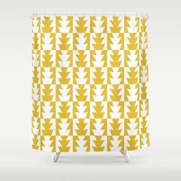 Art Deco Jagged Edge Pattern Mustard Yellow Shower Curtain