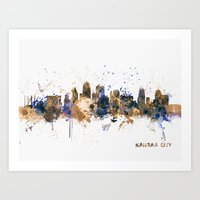 kansas city Art Prints featuring Kansas City Skyline by artPause