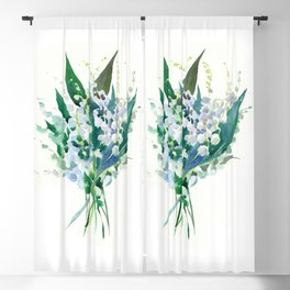 Lilies of the Valley, floral bouquet art,design spring flowers turquoise green white sky blue floral Blackout Curtain