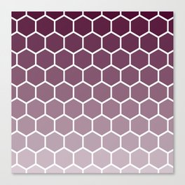 Plum red gradient honey comb pattern Canvas Print