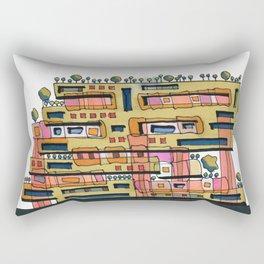 Urban Nature Building Architectural Illustration 62 Rectangular Pillow