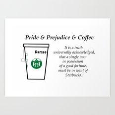 Pride and Prejudice and Coffee Art Print