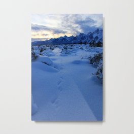 Snow-covered Grand Tetons at Sunset Metal Print