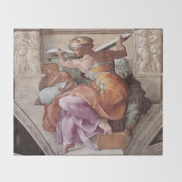 The Libyan Sybil Sistine Chapel Ceiling by Michelangelo Throw Blanket