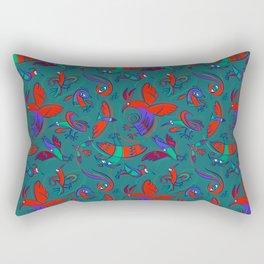 Pattern with Firebirds (on dark green background) Rectangular Pillow