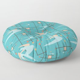 Mid Century Modern in Turquoise Floor Pillow
