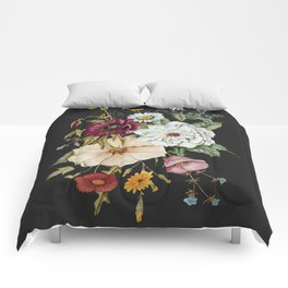 Colorful Wildflower Bouquet on Charcoal Black Comforters