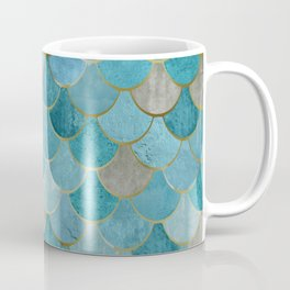 Moroccan Fish Scale Mermaid Pattern, Teal Blue and Gold Coffee Mug