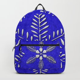 DP044-10 Silver snowflakes on blue Backpack