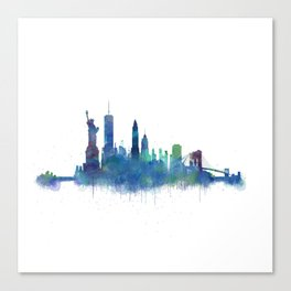 NY New York City Skyline NYC Watercolor art Canvas Print