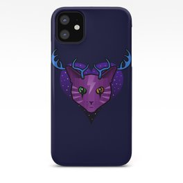 Purple Space Cat (Antlers) iPhone Case