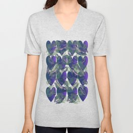 Blue Ombre Heart and Cold Kisses Pattern On Black Unisex V-Neck