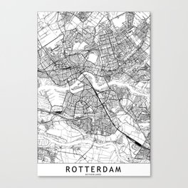 Rotterdam White Map Canvas Print