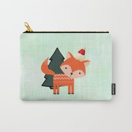 Orange Fox in Santa Hat in front of a Pine Tree Carry-All Pouch